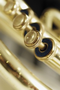 Close-up of trumpet keys